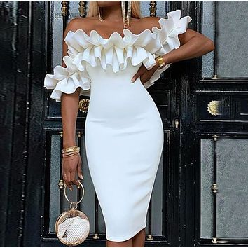 Fashionable and casual mid skirt with ruffle sleeves