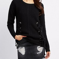 Cable Front Lace-Up Detail Sweater   Charlotte Russe