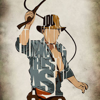 Indiana Jones Print - Harrison Ford  Minimalist Illustration Typography Art Print & Poster