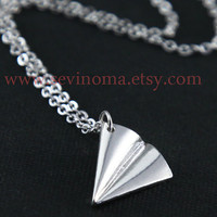 One Direction, paper airplane Necklace, Directioner, harry style Necklace, silver paper airplane charm