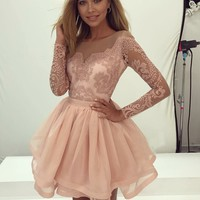 Pink Lace Long Sleeve Knee Length Homecoming Dresses