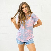 NEW! Pink and Periwinkle Tie Dye Caged Top