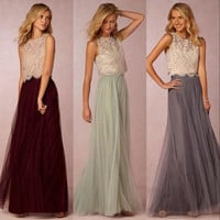 2016 New Two Pieces Bridesmaid Dresses Lace Tulle Skirt Burgundy Sheer Cheap Wedding Party Prom Dresses Maid of the Honor B3