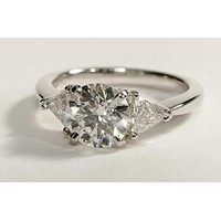 SALE A Perfect 2CT Round Cut Russian Lab Diamond Engagement Ring with Trillion Accents