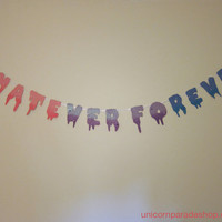 """Pastel & Neon Ombre/Gradient Drippy Font """"Whatever Forever"""" Banner Pink/Purple/Blue"""