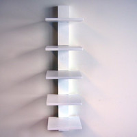 "Spine Wall Book Shelves (White) (37.75""H x 9.5""W x 8.75""D)"