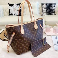 LV Louis Vuitton Women Leather Shoulder Bag Satchel Tote Handbag Wallet Set Two Piece