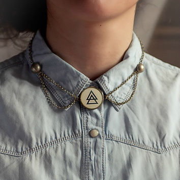 Resin Bezel and Brass Chain Handmade Necklace. Old tribal buttons and alchemy symbol Silver. Esoteric Steampunk Jewelry.