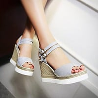 Duo Ankle Straps Platform Wedges Sandals 8923