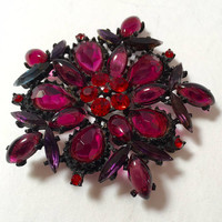 Large Vintage Brooch Red and Deep Pink Stones in a Black Setting