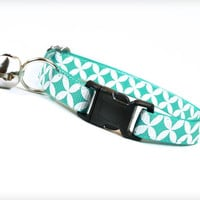 "Cat Collar - ""Atomic"" - Mint Aqua / Turquoise Retro Pattern"