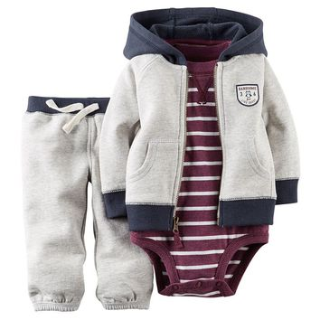 Carter's ''Handsome Like Daddy'' Hooded Cardigan Set - Baby Boy, Size: