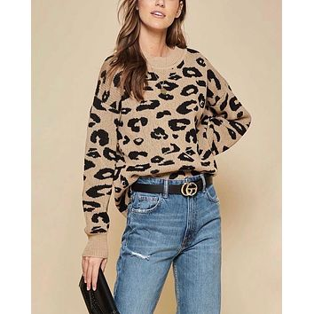 FINAL SALE - Animal Print Oversized Pullover Sweater