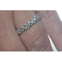 925 Sterling Silver Cubic Zirconia Micropave Set Eternity CZ Ring 4mm Wide Band