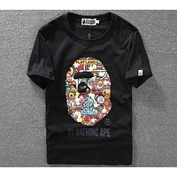 BAPE 2018 summer slut avatar luminous effect round neck short-sleeved T-shirt F-A-KSFZ black