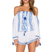 Surf Gypsy Embroidered Tassel Tie Romper in White & Royal
