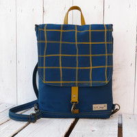 Petrol blue Backpack - canvas UNISEX 2in1 rucksack - screen print Festival Knapsack Petrol blue Cross body bag 2015 new design