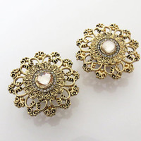 """2g, 0g, 00g, 7/16"""", 1/2"""", 9/16"""", 5/8"""" / Gold Rhinestone / Plugs Gauges Stretchers Earrings / Stretched Gauged Ears / Stainless Steel Tunnels"""