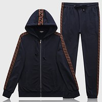 Boys & Men Fashion Casual Edgy Hooded Cardigan Jacket Coat  Pants Trousers Set Two-Piece