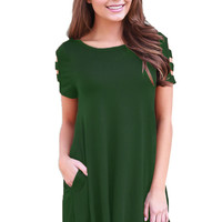 Army Green Banded Short Sleeve Relaxing Casual Dress