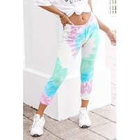 CHASER Tie Dye Slouchy Moto Jogger