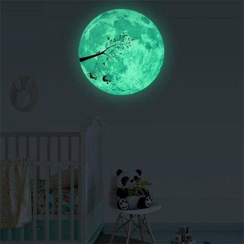 Glow Moon ~ Wall Stickers for kids rooms Decal ~ Stars Luminous Fluorescent