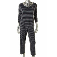 Lauren Ralph Lauren Womens Striped Lace Trim Pajama Set