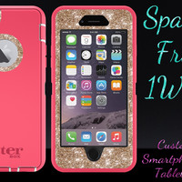 """OtterBox Defender Series Case for 4.7"""" iPhone 6 - Custom Glitter Case for 4.7"""" iPhone 6 - Pink/Gold"""