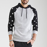 Star-Printed Raglan Hoodie Heather Grey/Black