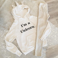 Unicorn Hoodie The fashion sets letters printing knitting hooded fleece White