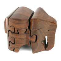 Handmade Carved Wooden 3D Elephant Puzzle - Noahs Ark