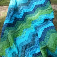 Deep Blue, Green, and Teal Chevron or Zig Zag Throw-sized Quilt