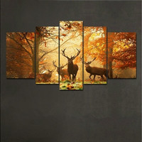 Modern Large Size Milu Deer in Autumn Photography Design Canvas Print Livingroom Paintings Wall Art Home Decoration Room Decor Kitchen Decals Picture Bedroom Baby room for Men Boys Girls