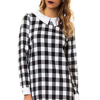 The Neverland Dress in Black Plaid and White