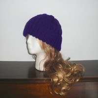 Purple Cable Hat, Hand Knit, Mens Womens Teens, Watch Cap Beanie, Handmade