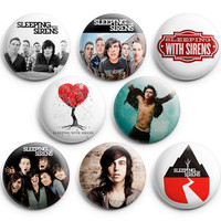 Sleeping With Sirens Pinback Buttons Badge 1.25 inches (Set of 8) NEW