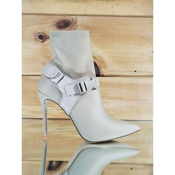 """CR Raider Nude Pull On Stretch Pointy Toe Harness Ankle Boot 4"""" High Heels"""