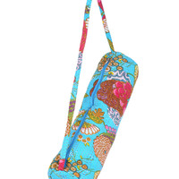 Stylish Yoga Mat Bag - Hand Embroidered in India With Quality Full Zipper & Strap (Blue)