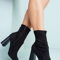 Bea Suede Booties - Black