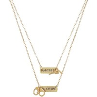 2 Necklaces for You and Your Bff, Partners in Crime, Ours Alone! USA!, Gold Tone in Gold Tone