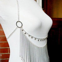 The Warrior Princess - Silver Halter Style Body Chain w/ Fringe & Bells - Festival / Belly Dance Wear!