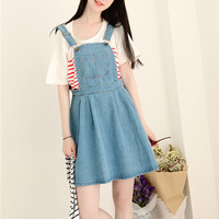 Summer denim strap dress