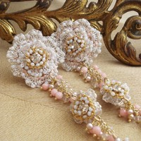 Pastel Pink Wedding Post Earrings / Silver Floral by EderaJewelry