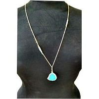 Gold Long Drop  Turquoise Necklace