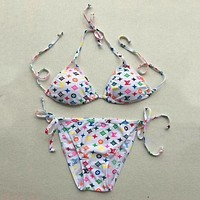 LV Louis Vuitton Women Fashion Multicolor Bikini Set Swimsuit Swimwear