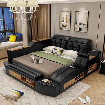 Contemporary Leather Bed with Massager Storage Bluetooth Speaker USB
