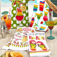 Set of 2 Summertime Themed Kitchen Towels Beach Nautical Americana Cotton