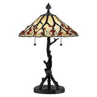 Quoizel AG711TVA 2 Light Whispering Wood Desk Table Lamp, Valiant Bronze