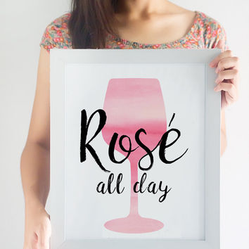 Rosé All Day Printable // Wine Printable // Wine Decor // Kitchen Decor // Printable Art