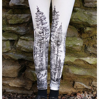 Redwood Forest Leggings - Womens Legging - CREAM - Tights - tree tights -  SMALL